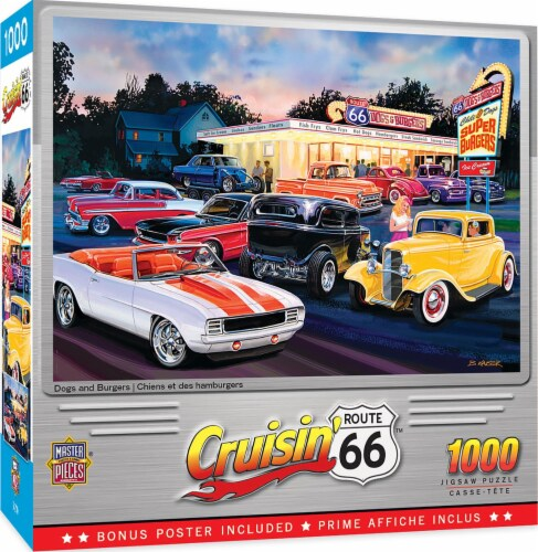 Masterpieces Puzzle Cruisin' Route 66 1000 pc Jigsaw Puzzle Perspective: front