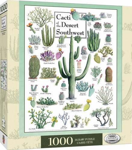 Cacti of the Desert Southwest 1000 Piece Linen Jigsaw Puzzle Perspective: front