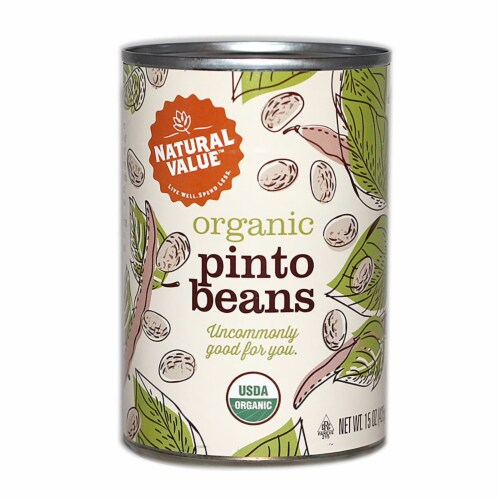 Natural Value Organic Pinto Beans / 15-oz. cans / 12-ct. case Perspective: front