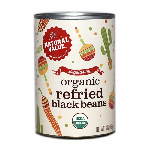 Natural Value Organic Refried Black Beans / 16-oz. cans / 12-ct. case Perspective: front