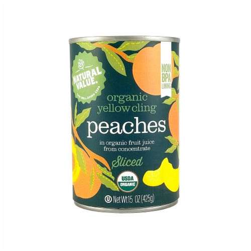 Natural Value 15 oz. Organic SLICED Peaches / 12-ct. case Perspective: front