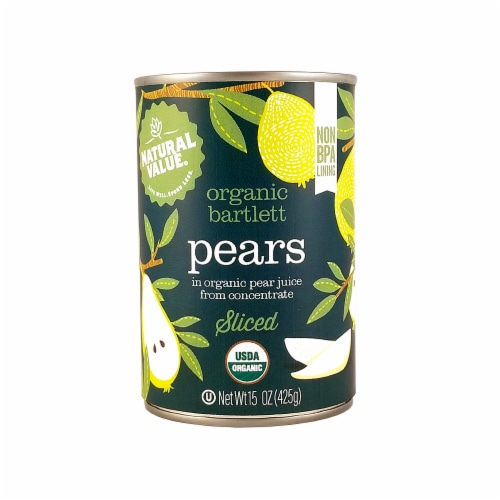 Natural Value 15 oz. Organic SLICED Pears / 12-ct. case Perspective: front