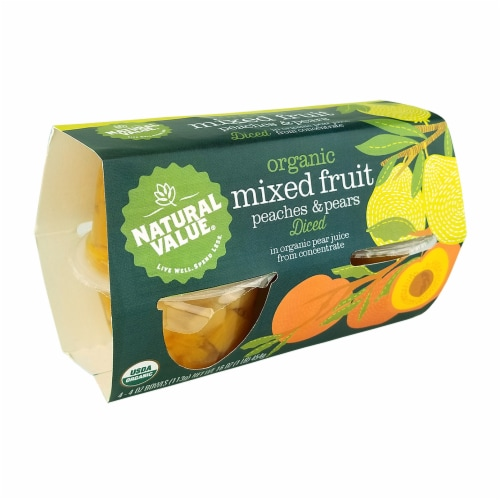 Natural Value 4 oz. Organic Diced Peaches & Pears 4-pack Fruit Cups / 6-ct. case Perspective: front