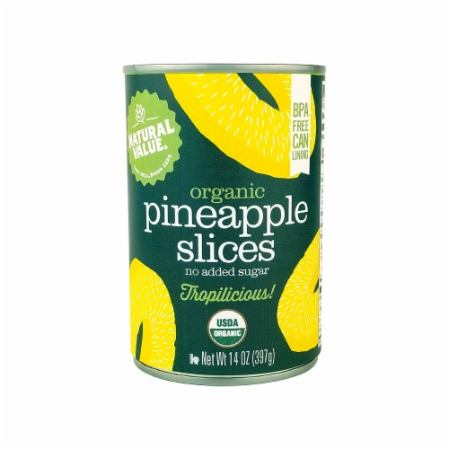 Natural Value 14 oz. Organic Pineapple SLICES / 12-ct. case Perspective: front
