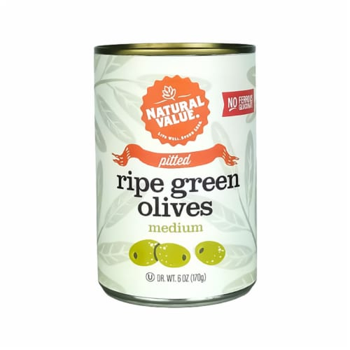 Natural Value Medium Pitted GREEN Olives / 6-oz. cans / 12-ct. case Perspective: front