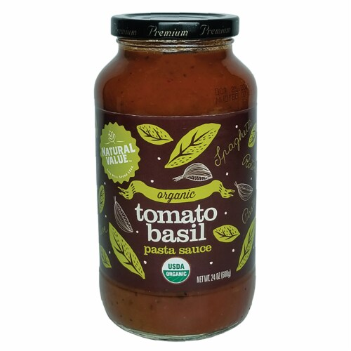 Natural Value 24-oz. Organic TOMATO BASIL Pasta Sauce / 12-ct. case Perspective: front