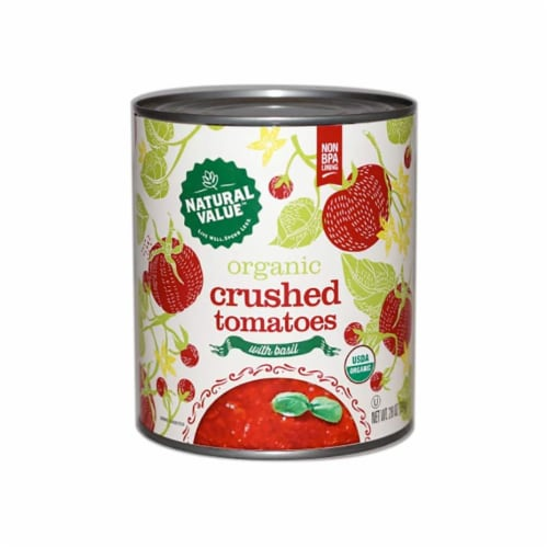 Natural Value 28-oz. Organic CRUSHED Tomatoes w/ Basil / 12-ct. case Perspective: front