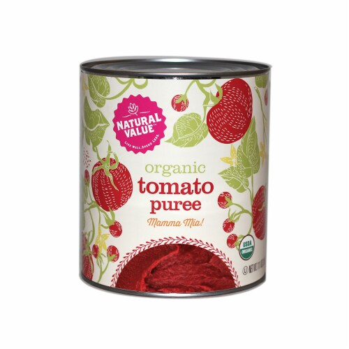 106-oz. Natural Value Food Service Size Organic Tomato PUREE / 6-ct. case Perspective: front