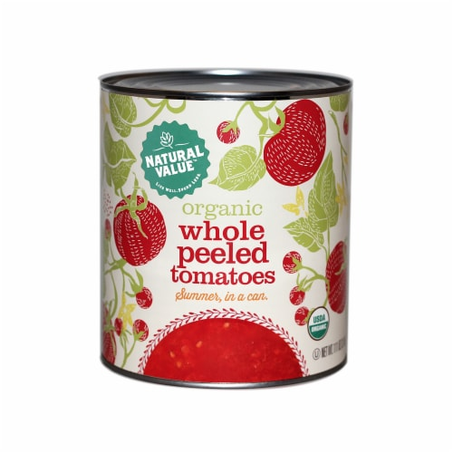 102-oz. Natural Value Food Service Size Organic WHOLE PEELED Tomatoes / 6-ct. case Perspective: front