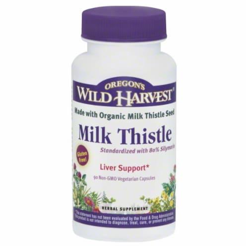 Oregon's Wild Harvest Milk Thistle Herbal Supplement Vegetarian Capsules Perspective: front