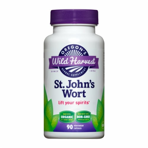 Oregons Wild Harvest St Johns Wort Capsules Perspective: front