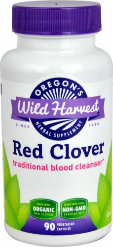 Oregon's Wild Harvest Organic Red Clover Dietary Supplement Vegetarian Capsules Perspective: front