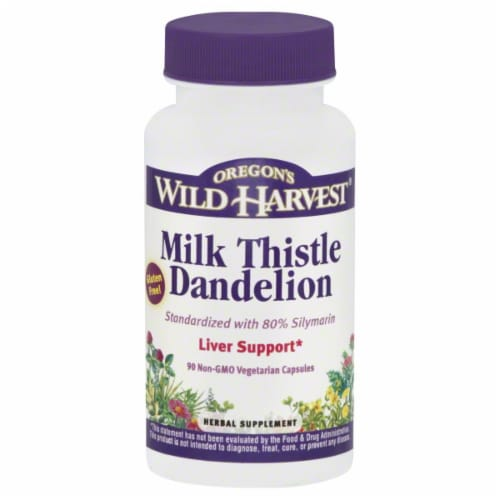 Oregon's Wild Harvest Milk Thistle Dandelion Liver Support Herbal Supplement Vegetarian Capsules Perspective: front