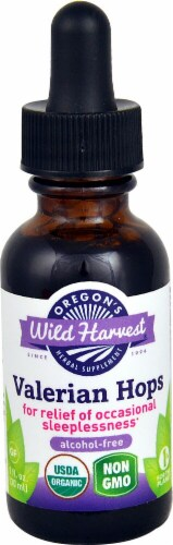 Oregon's Wild Harvest Organic Valerian Hops Herbal Supplement Perspective: front