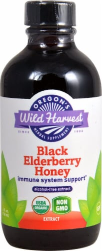 Oregon's Wild Harvest Black Elderberry Honey Alcohol Free Extract Perspective: front