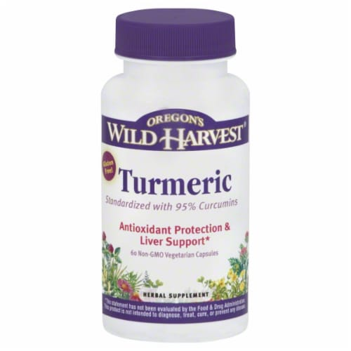 Oregon's Wild Harvest Turmeric Antioxidant Protection & Liver Support Herbal Supplement Capsules Perspective: front