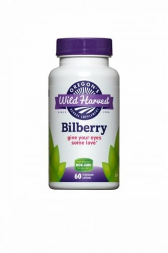 Oregon's Wild Harvest Bilberry Vegetarian Capsules Perspective: front