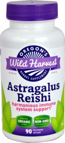 Oregon's Wild Harvest Organic Astragalus Reishi Herbal Supplement Vegetarian Capsules Perspective: front