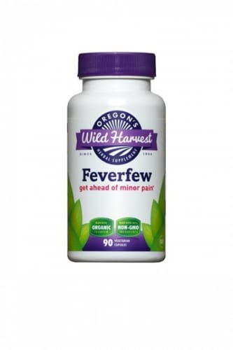 Oregon's Wild Harvest Organic Feverfew Herbal Supplement Vegetarian Capsules Perspective: front