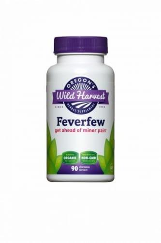 Oregon's Wild Harvest Organic Feverfew Herbal Supplement Vegetarian Capsules Perspective: front