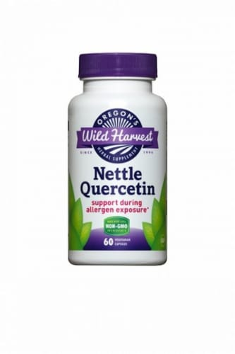 Oregon's Wild Harvest Nettle Quercetin Support Vegetarian Capsules Perspective: front
