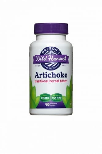 Oregon's Wild Harvest Organic Artichoke Herbal Supplement Vegetarian Capsules Perspective: front