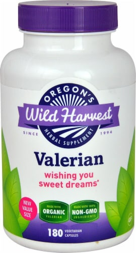 Oregon's Wild Harvest Organic Valerian Herbal Supplement Vegetarian Capsules Perspective: front