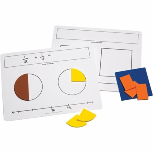 Write-On/Wipe-Off Fraction Mats, Set of 10 Perspective: front