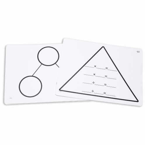 Write-On/Wipe-Off Fact Family Triangle Mats: Multiplication, Set of 10 Perspective: front
