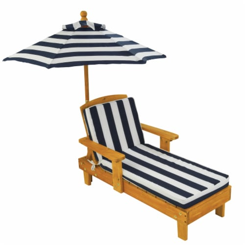 KidKraft Outdoor Children's Chaise with Umbrella - Navy Perspective: front