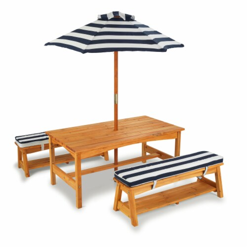 KidKraft Outdoor Children's Table & Bench Set with Cushions & Umbrella - Navy & White Stripes Perspective: front