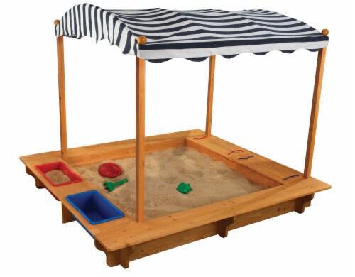 KidKraft Outdoor Children's Sandbox with Canopy - Navy & White Perspective: front