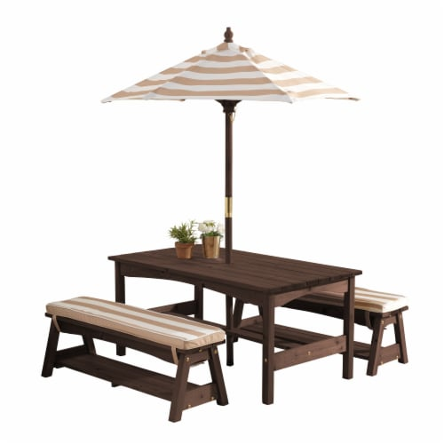 KidKraft Outdoor Children's Table & Bench Set w/ Cushions & Umbrella-Oatmeal & White Stripes Perspective: front