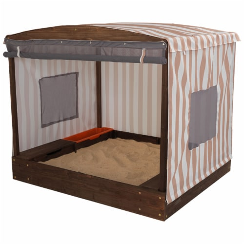 KidKraft Cabana Children's Sandbox - Beige & White Stripes Perspective: front