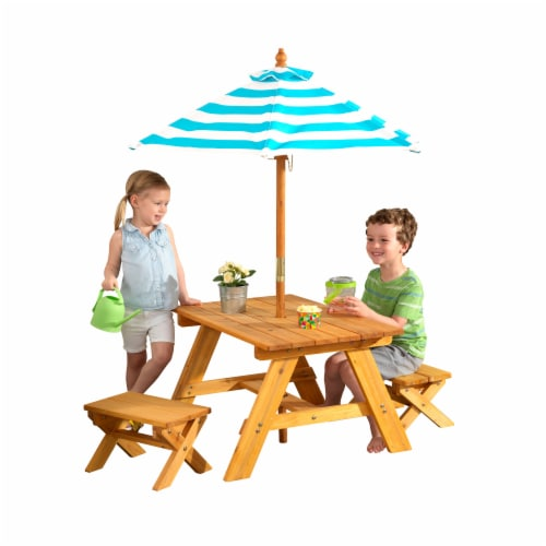 KidKraft Outdoor Children's Table & Bench Set with Umbrella - Turquoise & White Perspective: front