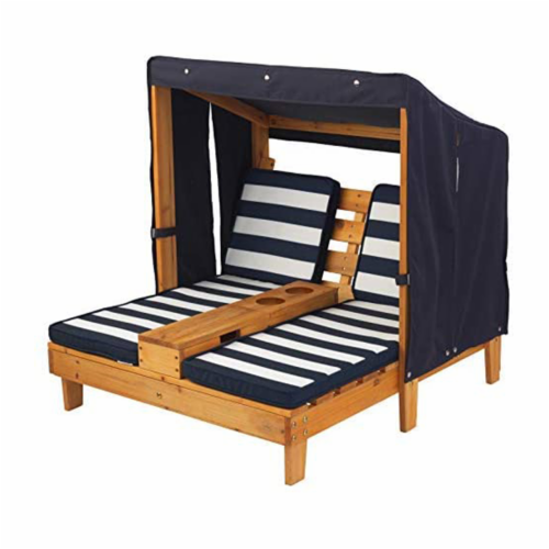 KidKraft Children's Double Chaise Lounge with Cup Holders - Honey & Navy Perspective: front