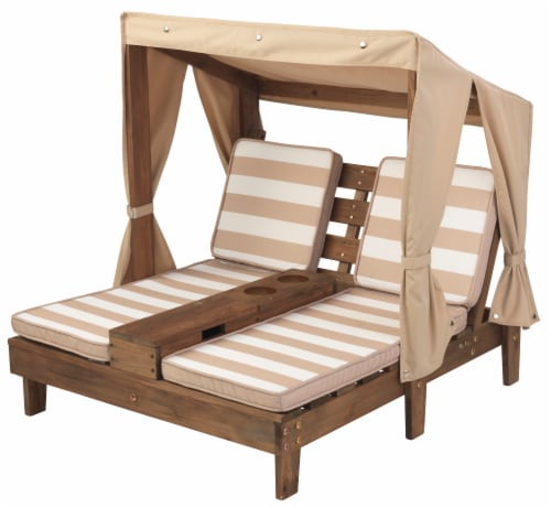 KidKraft Children's Double Chaise Lounge with Cup Holders - Espresso & Oatmeal Perspective: front