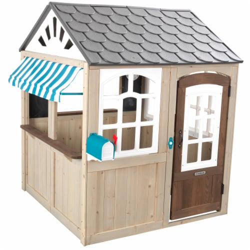 KidKraft Hillcrest Wooden Outdoor Playhouse Perspective: front