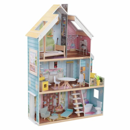 KidKraft Zoey Magic Lights & Sounds Dollhouse with EZ Kraft Assembly™ Perspective: front