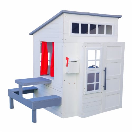 KidKraft Modern Wooden Outdoor Playhouse - White Perspective: front