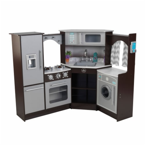 KidKraft Ultimate Corner Play Kitchen with Lights & Sounds - Espresso Perspective: front