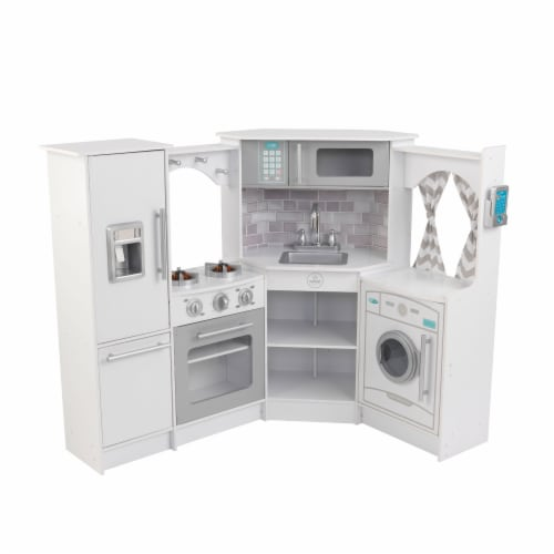 KidKraft Ultimate Corner Play Kitchen with Lights & Sounds - White Perspective: front