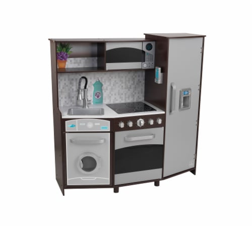KidKraft Large Play Kitchen with Lights & Sounds - Espresso Perspective: front
