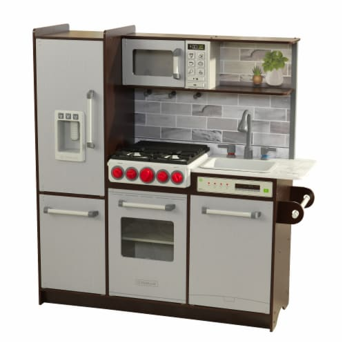 KidKraft Uptown Elite Espresso Play Kitchen with EZ Kraft Assembly™ Perspective: front