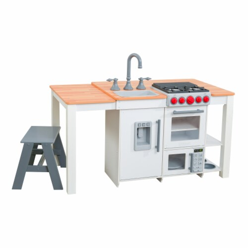 KidKraft Chef's Cook N Create Island Play Kitchen with EZ Kraft Assembly™ - White Perspective: front