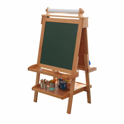 KidKraft Deluxe Wooden Easel - Natural Perspective: front