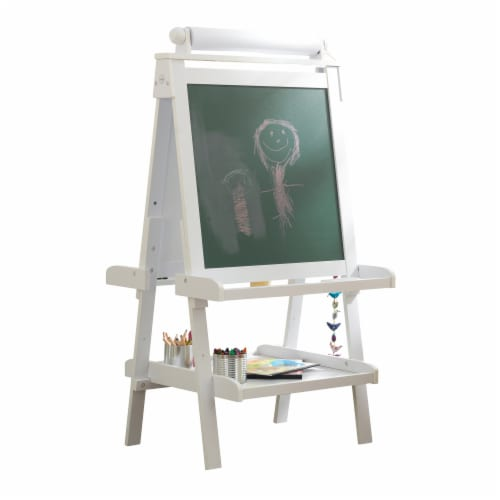 KidKraft Deluxe Wooden Easel - White Perspective: front