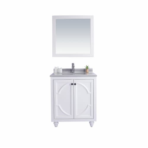 Odyssey - 30 - White Cabinet + White Stripes Marble Countertop Perspective: front