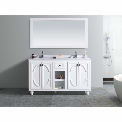 Odyssey - 60 - White Cabinet + White Stripes Marble Countertop Perspective: front