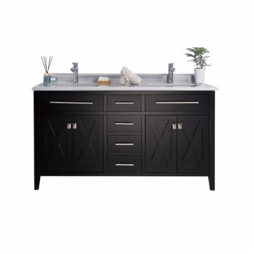 Wimbledon - 60 - Espresso Cabinet + White Stripes Marble Countertop Perspective: front